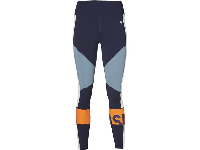 asics Color Block Cropped Tights 2 Spodnie do biegania Kobiety pomarańczowy/niebieski